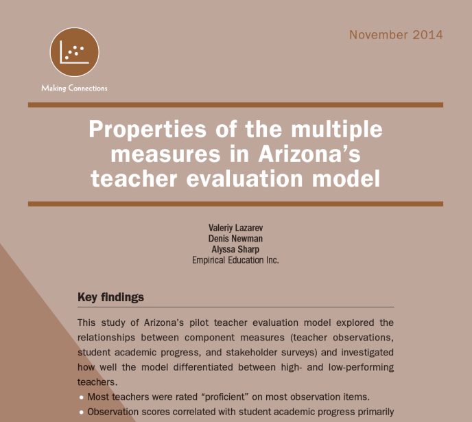 Properties of Arizona's new multiple-measure teacher evaluation model
